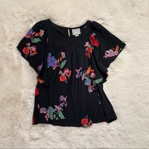 Maeve Anthropologie Black Floral Butterfly Sleeve